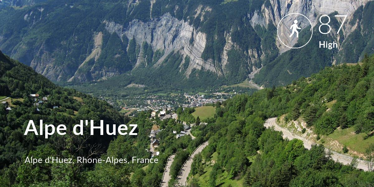 Walking comfort level is 87 in Alpe d'Huez