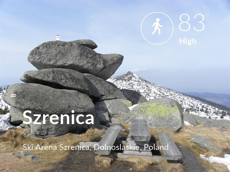 Walking comfort level is 83 in Szrenica