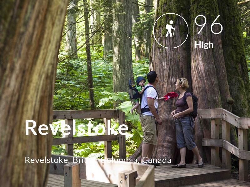 Hiking comfort level is 96 in Revelstoke