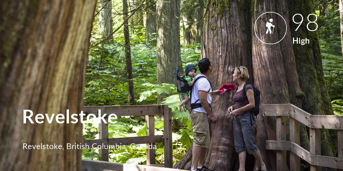 Hiking comfort level is 98 in Revelstoke