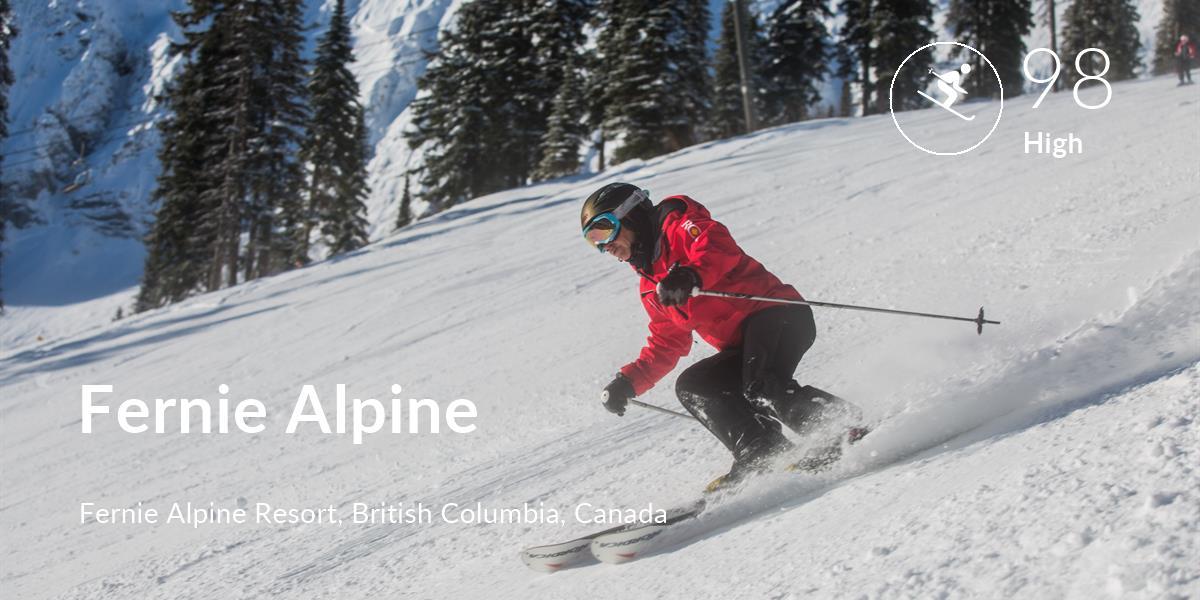 Skiing comfort level is 98 in Fernie Alpine