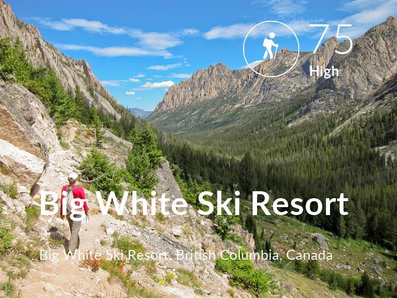 Hiking comfort level is 75 in Big White Ski Resort