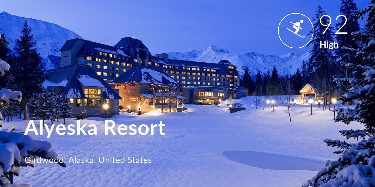 Skiing comfort level is 92 in Alyeska Resort