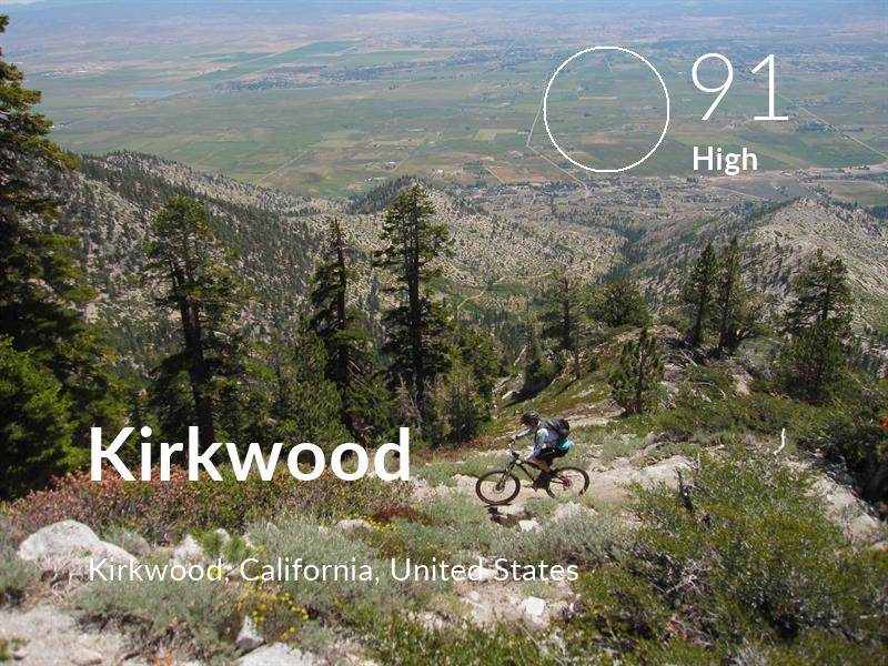 Cycling comfort level is 91 in Kirkwood
