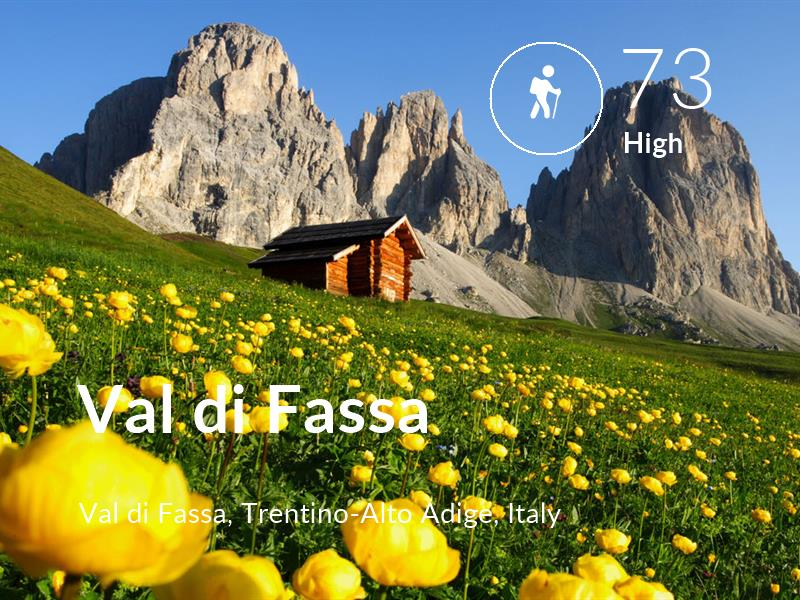 Hiking comfort level is 73 in Val di Fassa
