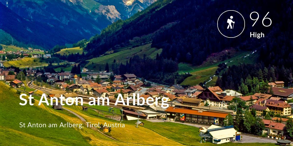 Hiking comfort level is 96 in St Anton am Arlberg