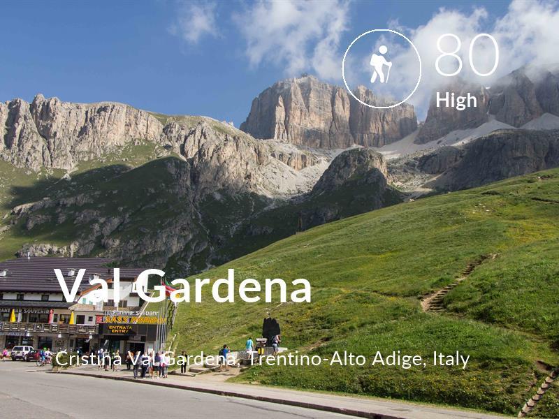 Hiking comfort level is 80 in Val Gardena