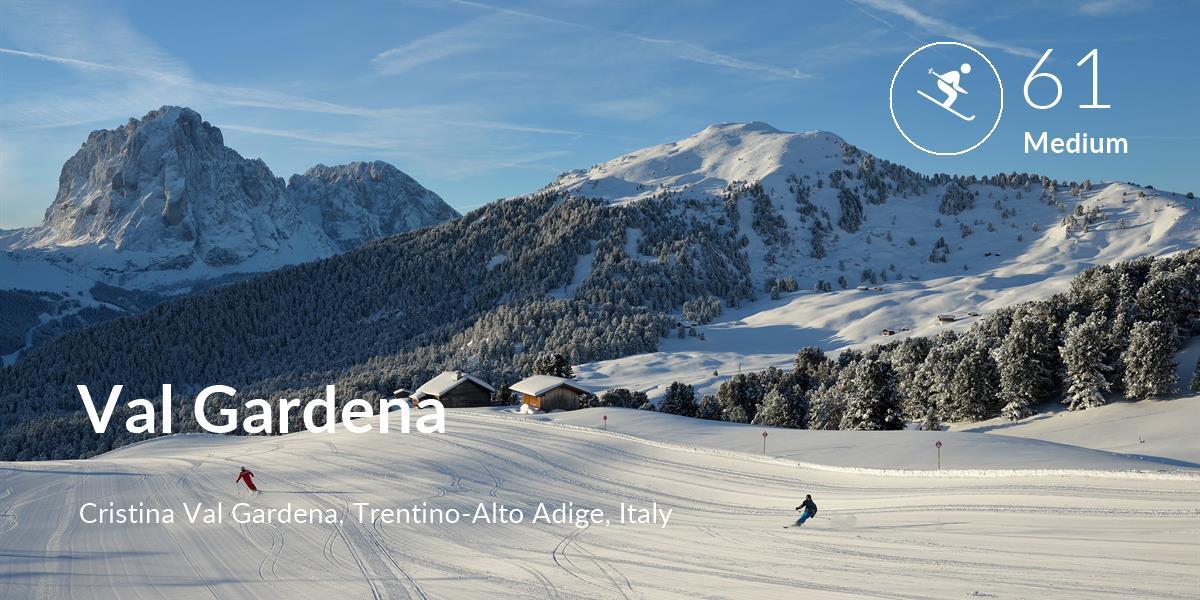 Skiing comfort level is 61 in Val Gardena