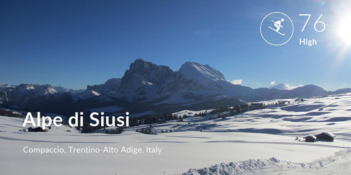 Skiing comfort level is 76 in Alpe di Siusi