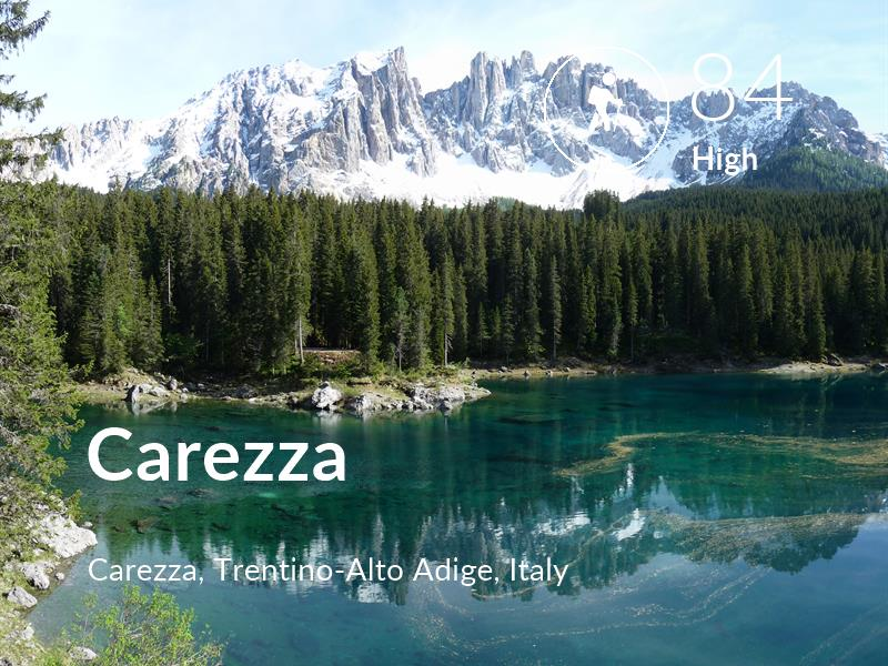 Hiking comfort level is 84 in Carezza