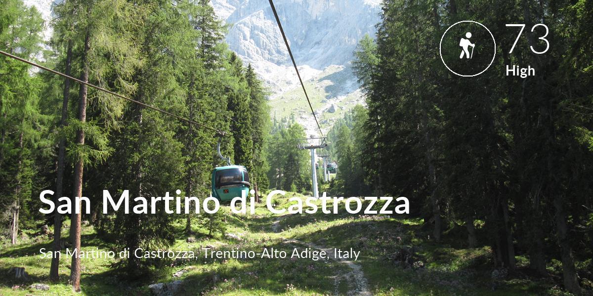 Hiking comfort level is 73 in San Martino di Castrozza