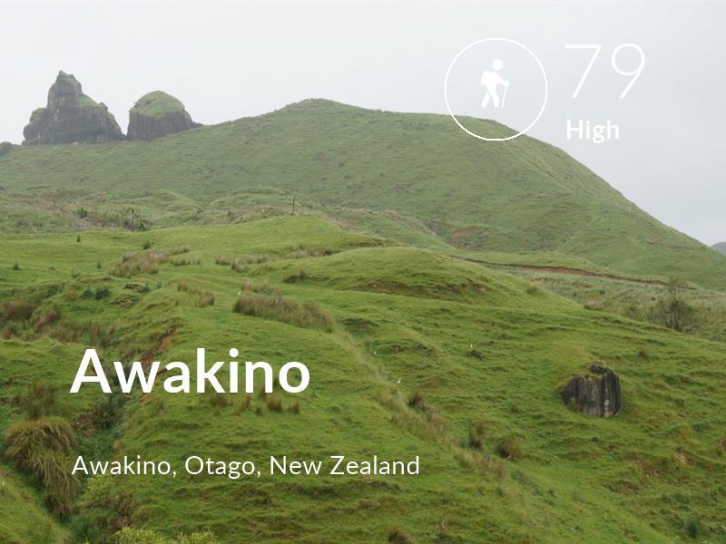 Hiking comfort level is 79 in Awakino