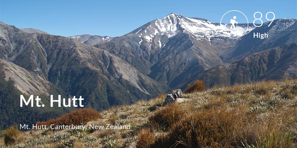 Hiking comfort level is 89 in Mt. Hutt