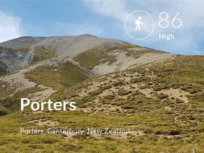 Hiking comfort level is 86 in Porters